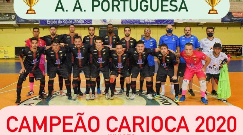 Ironfisio, patrocinadora oficial do futsal da Portuguesa, comemora o 1° lugar no Carioca 2020.